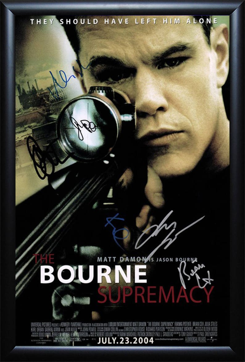 The Bourne Supremacy Cast Signed Movie Poster Wood Framed