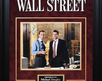 Wall Street- Signed by Charlie Sheen and Michael Douglas - Framed Artist Series