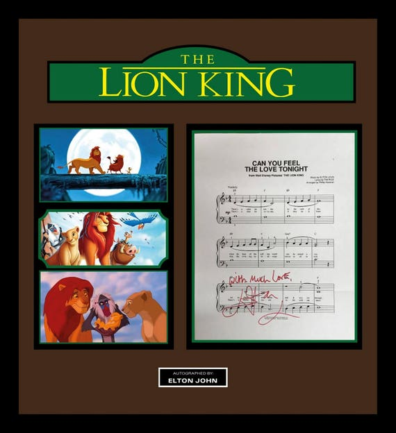 the lion king signed music lyrics in photo collage frame