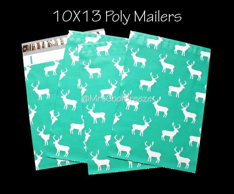 10 or 15 Reindeer 10X13 Poly Mailers Flat Designer Lightweight Bag Self Seal Waterproof Business Shipping Envelope Package Mail Polymailer