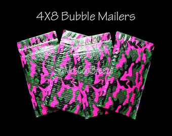 10/15/20 Pink Camo 4X8 Poly Bubble Mailer Designer Self Adhesive Seal Protective Padded Waterproof Wrapped Shipping Envelope