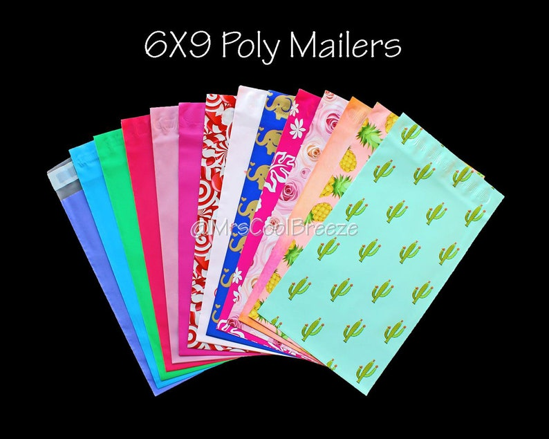 50 6x9 Hot Pink Aloha Designer Mailers Poly Shipping Envelopes Boutique Bags