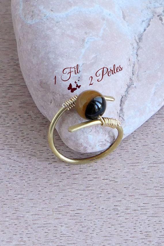 Messing Draht umwickeln gold Tiger eye Ring Ring Vintage | Etsy