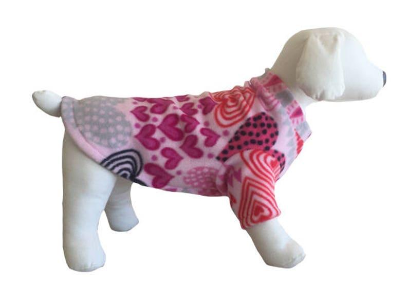 Fleece dog shirt Valentines Day Heart Sweater Dachshund sweatshirt pajamas dog Fleece warm puppy Small  Medium Large