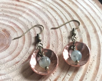Dapped hammered copper pearl earrings