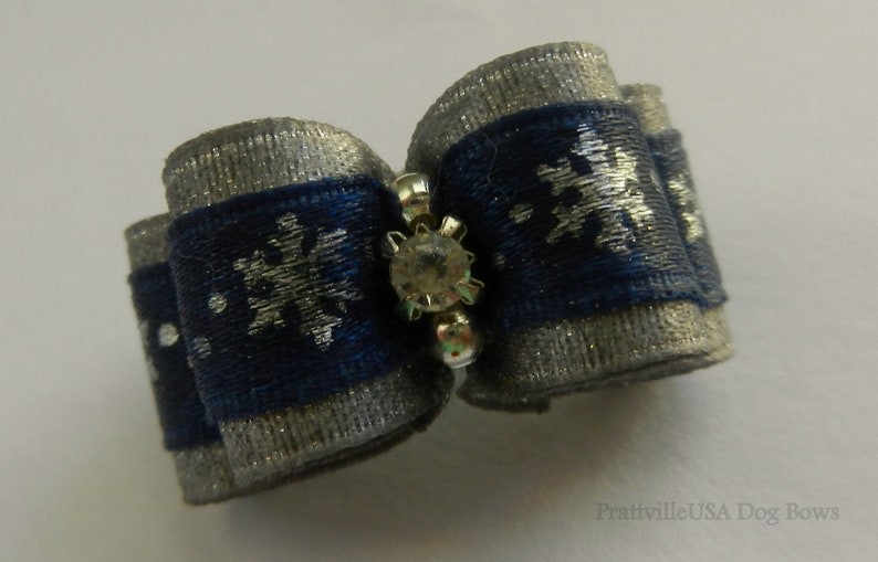 58 ~ Blue Silver Snowflake ~ Shih Tzu Top Knot Yorkie Dog Hair Bow