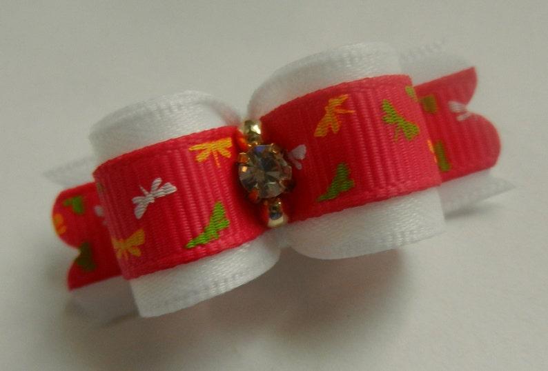 58 ~ Pink Print ~ Shih Tzu Yorkie Dog Hair Bow