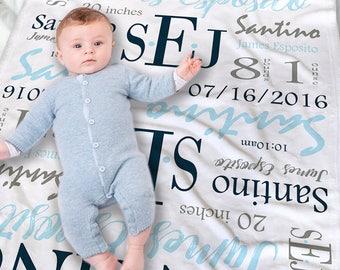 Personalized Baby Blanket - Custom Baby Name Blanket - Newborn Blanket - Monogrammed Baby Blanket - Baby Blanket for Boys - Newborn Boy Gift
