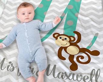 Monkey blanket etsy personalized baby blanket negle Gallery