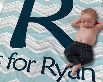 Custom Baby Name Blanket - Baby Initial Blanket - Monogrammed baby Blanket - Receiving Blanket - Boys Baby Blanket - Newborn Baby Blanket
