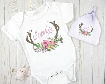 Deer Antlers Baby Outfit, Woodland Baby Gown, Woodland Baby Bodysuit, Custom Baby Outfit, Newborn Hat, deer antler nursery, New Baby Girl
