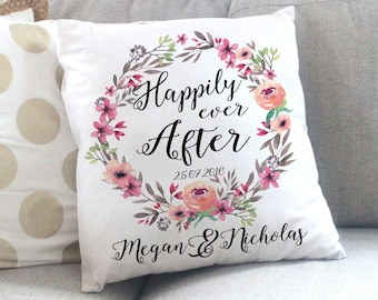 Happily Ever After Pillow - Personalized Wedding Gift - Anniversary Gift - Bridal Shower Gift - New Family Gift - Wedding Gift, Throw Pillow