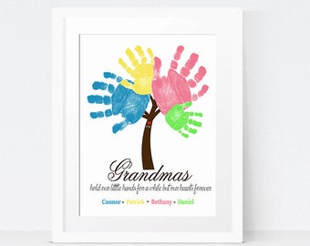 Grandmother Gift Idea - Sibling Wall Art - Handprint Art - Grandparents Gift - Personalized Print - Grandma Quote - Mother's Day Gift Idea