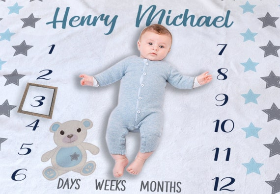 PERSONALISED FLEECE BLANKET NEWBORN BABY GIRL//BOY 1ST CHRISTMAS TEDDY BEAR GIFT