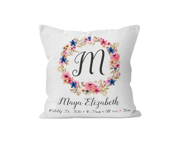 New Baby Gift Nursery Decor Baby Girl Gift Personalized Nursery Pillow Kids Room Decor Kidst Throw Pillow Floral Baby Name Gift