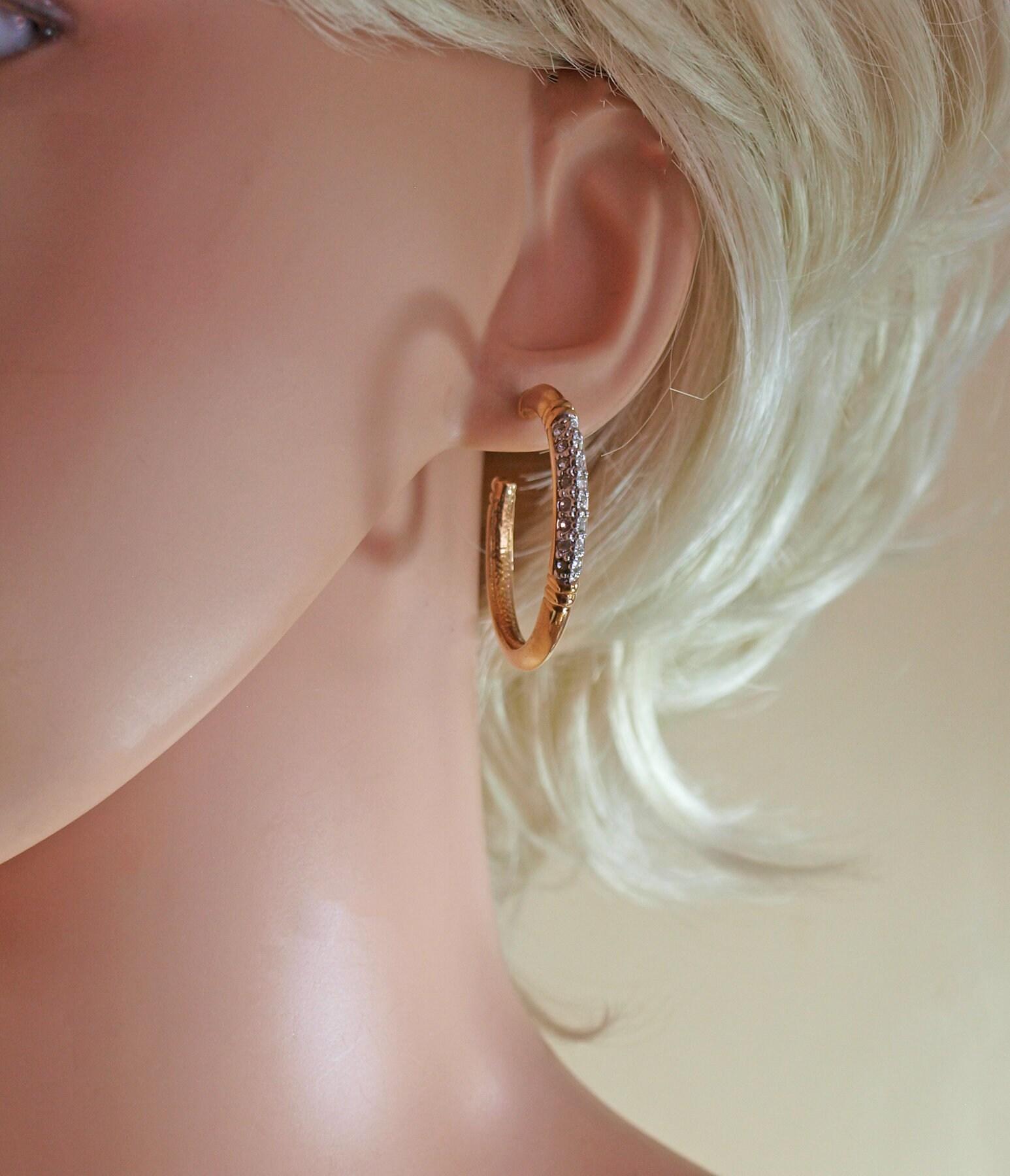 90258bb8e2b0c6 Stunning Designer Sparkling Hoop Earrings