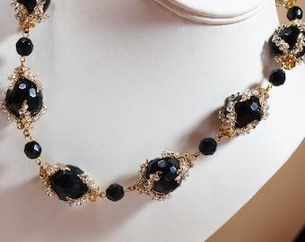 Beautiful Black and Diamante Handmade Beaded Necklace
