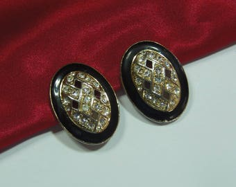 Vintage Diamante Clip On Earrings Signed Trifari (3009)