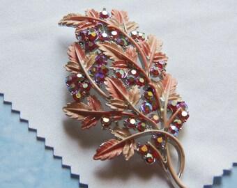 Vintage, Pink Aurora Borealis Floral Brooch (2969)