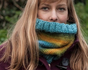 Handmade, knitted multicolour stripes snood / cowl blue green yellow