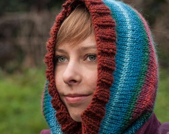 Handmade, knitted multicolour stripes snood / cowl red and blue