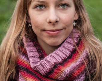 Handmade, knitted multicolour stripes snood / cowl pink black red