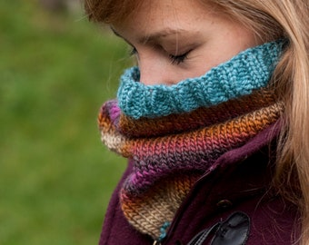 Handmade, knitted multicolour stripes snood / cowl purple orange pink beige blue