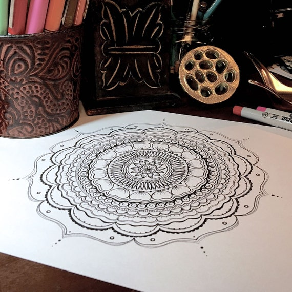 Pdf Download Adult Coloring Page Henna Inspired Hand Drawn Mandala By Deb Soromenho Mindful Doodling