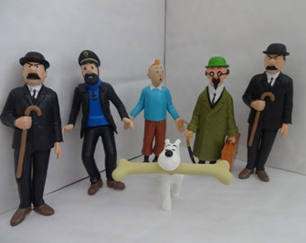 Mister A Gift TIN TIN and FRIENDS cake toppers 6 plastic figures