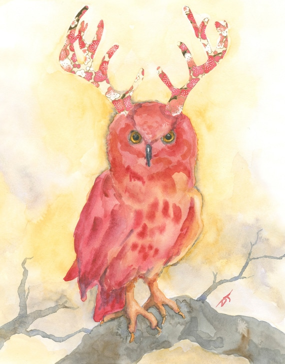 Owl with Antlers Fine Art Print 5 1/2  x 7 Inches