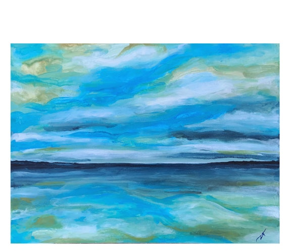 Summer Evening Sky Lake Ontario Original Art on Stretched Canvas 12 x 16 Inches