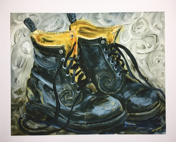 Black Fluevog Derby Swirl Boots Fine Art Print