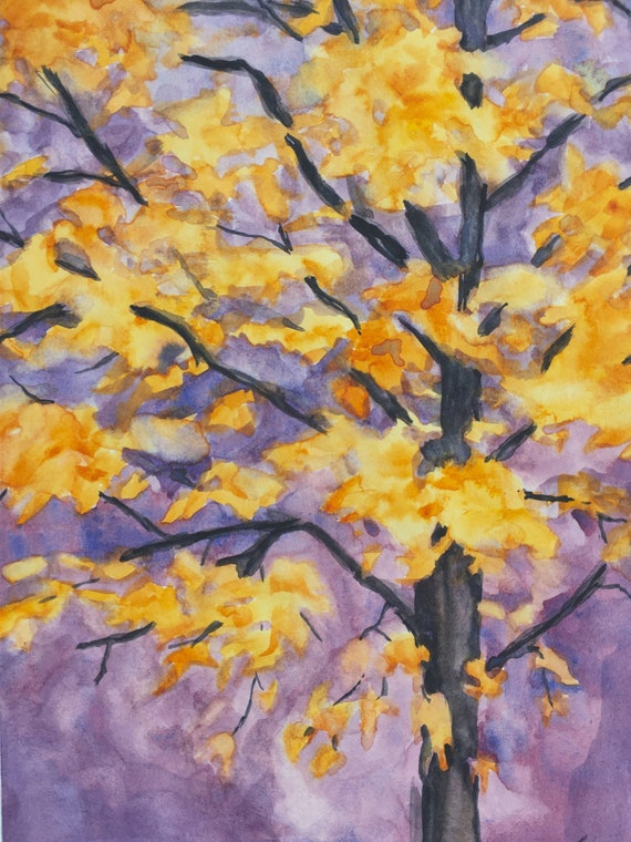 Maple Tree Autumn Colors Original Watercolor Painting Approx. 6 x 8 Inches