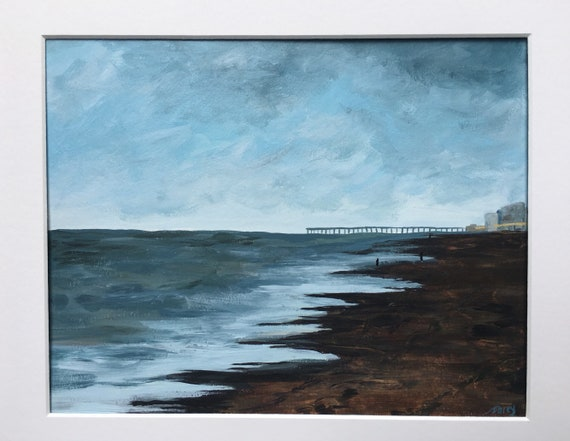 Virginia Beach After a Storm 8 x 10 Inches Original Acrylic Painting on Paper