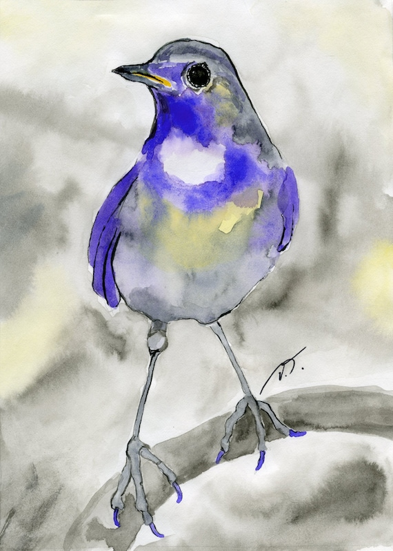 Blue Songbird with Long Legs Fine Art Print 5 x 7 Inches