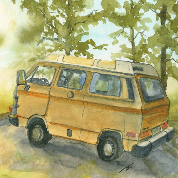 Yellow Camper Van in Summer Fine Art Print Approximately 5 1/3 inches x 8 inches