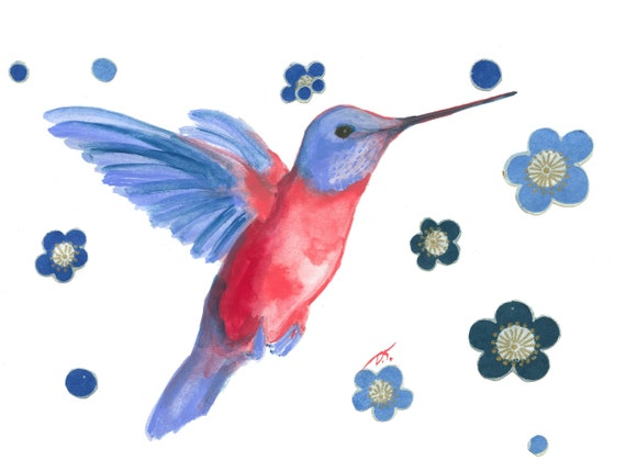 Hummingbird With Blue Flowers Fine Art Print 5 x 7 Inches