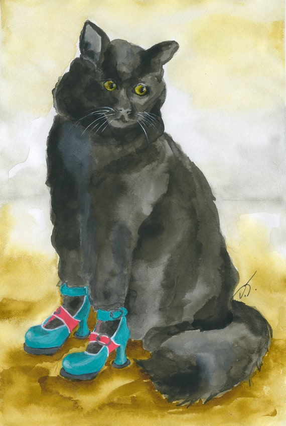 Cat in Fluevog Inspired Shoes Fine Art Print 5 1/2 x 8 Inches