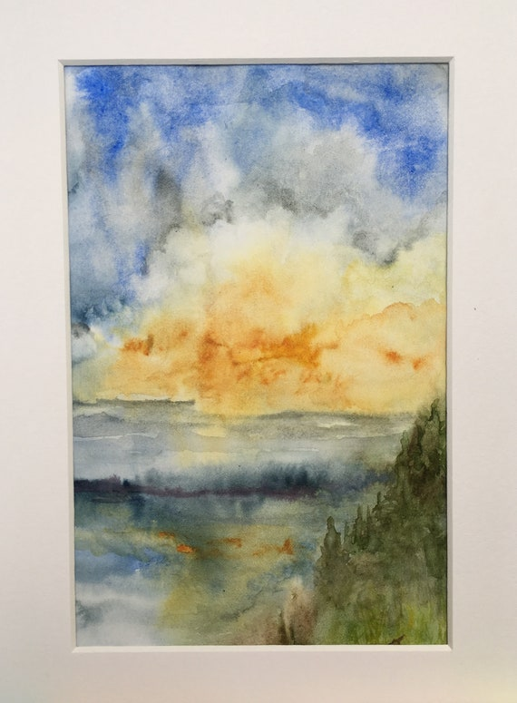 After the Storm Sunset Original Watercolor Painting 6 x 8 Inches