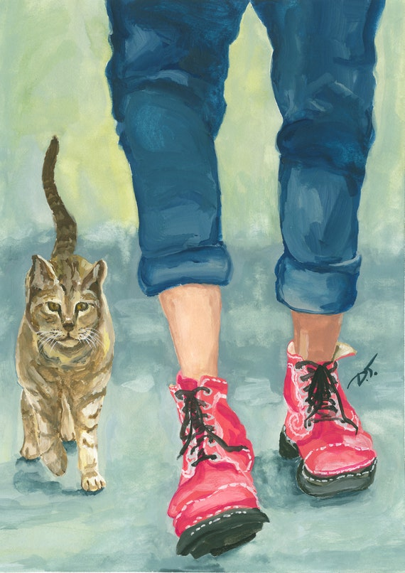 Wearing Fluevogs Walking with the Cool Cat Fine Art Print 5 1/2 x 8 inches