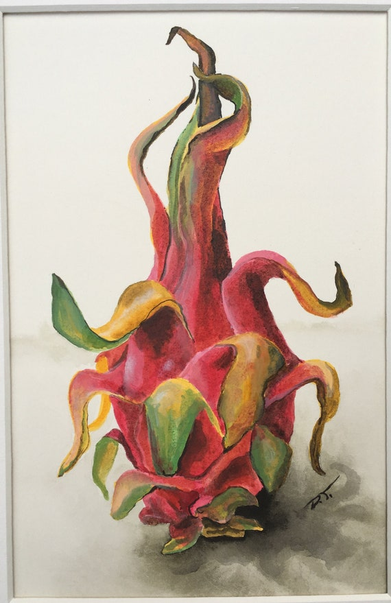 Dragonfruit Original Acrylic Ink Painting 6 x 8 Inches