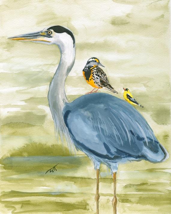Three Birds Fine Art Print 6 x 7.5 Inches
