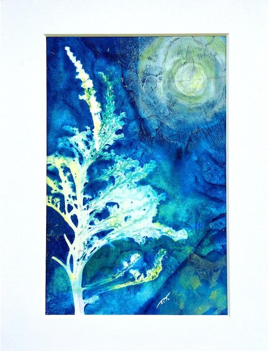 Moonlit Tree Blue Monoprint Original Artwork Approximately 5 1/2 x 8 Inches