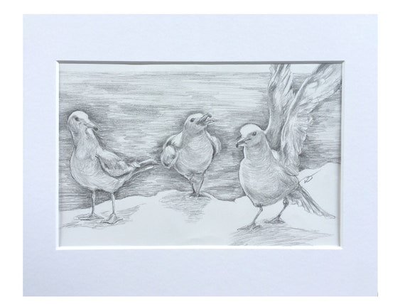 Three Seagulls by the Lake Original Artwork in Pencil Approximately 5 1/2 x 8 Inches