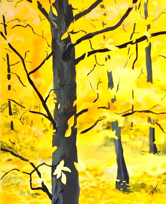 Yellow Beech Trees Fine Art Print 5 1/2 x 7 inches