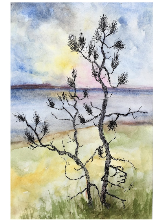 Pine Tree with Lake Superior Sunset Original Watercolor Painting and Ink Approx. 6 x 8 Inches