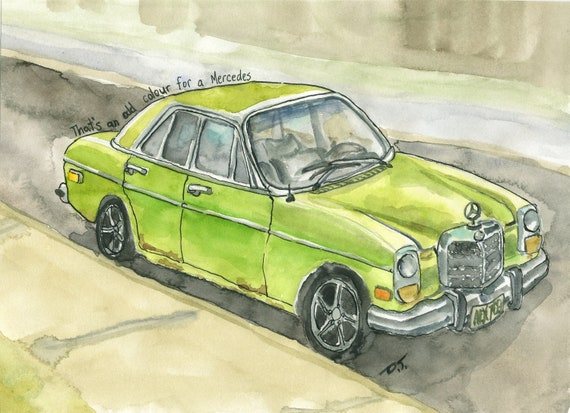 Vintage Green Car Fine Art Print 5 1/2 Inches x 7 1/2 Inches