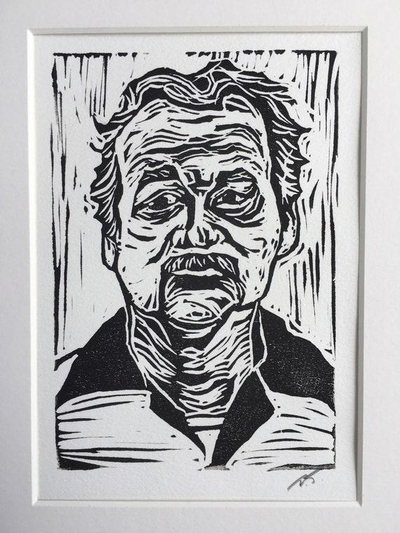 Bill Murray Linocut Block Print on Heavy White Print Paper