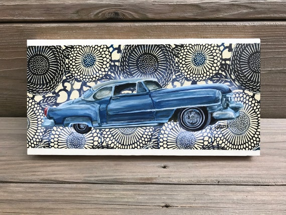Cadillac Deville Original Painting Collaged onto Japanese Paper Mounted on Wood Panel 12 x 6 x 1 inch