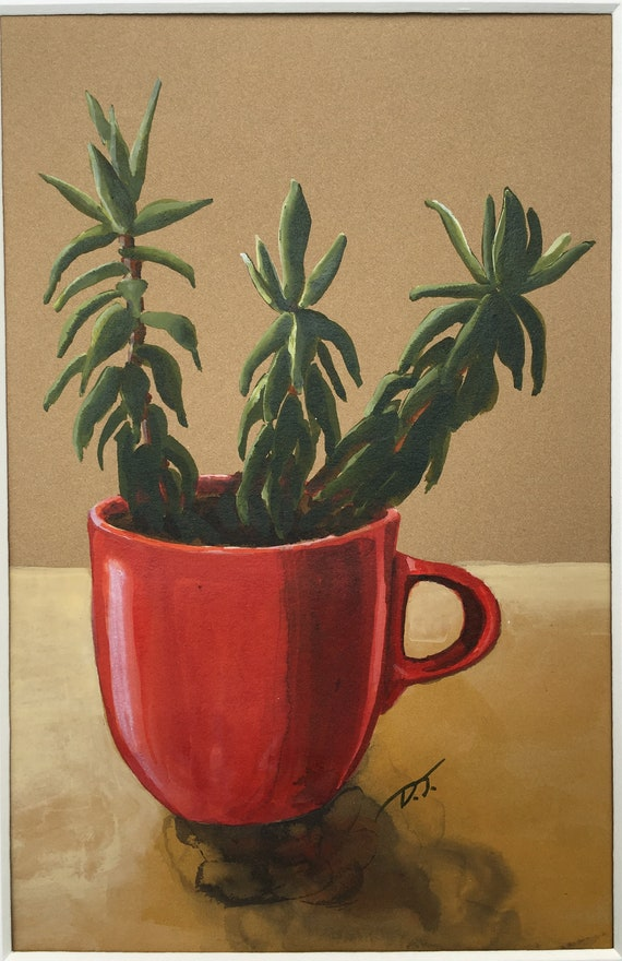 Succulent in Red Coffee Cup Original Acrylic Ink Painting 6 x 8 Inches